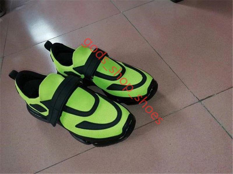 Prada Cloudbust 운동화 남성 낮은 맨 캐주얼 신발 디자이너 여성 운동화 고급 패브릭 통기성 FLUO 녹색 Cloudbust 신발 남성 평면 운동화