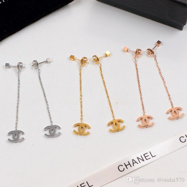 2020 Marke Designer-Modeschmuck Frauen-Ohrring-18K-Damen-Anhänger Ohrringe weibliche baumeln Leuchter mit LOGO Ursprünglicher Geschenk-Kasten Y004