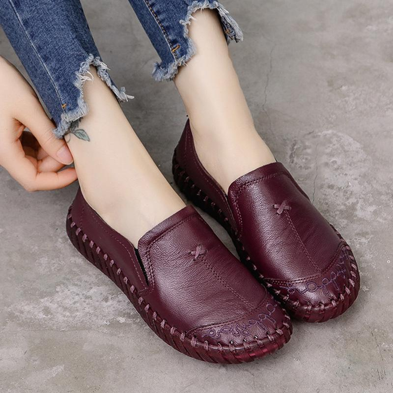 Damenschuh New Soft-Frauen-beiläufige Schuh-Dame-Frauen-Ebene-echter Leder-Schuh Wohnungen Anti-Rutsch-Oxford-Schuhe für Damen Loafers CY200519