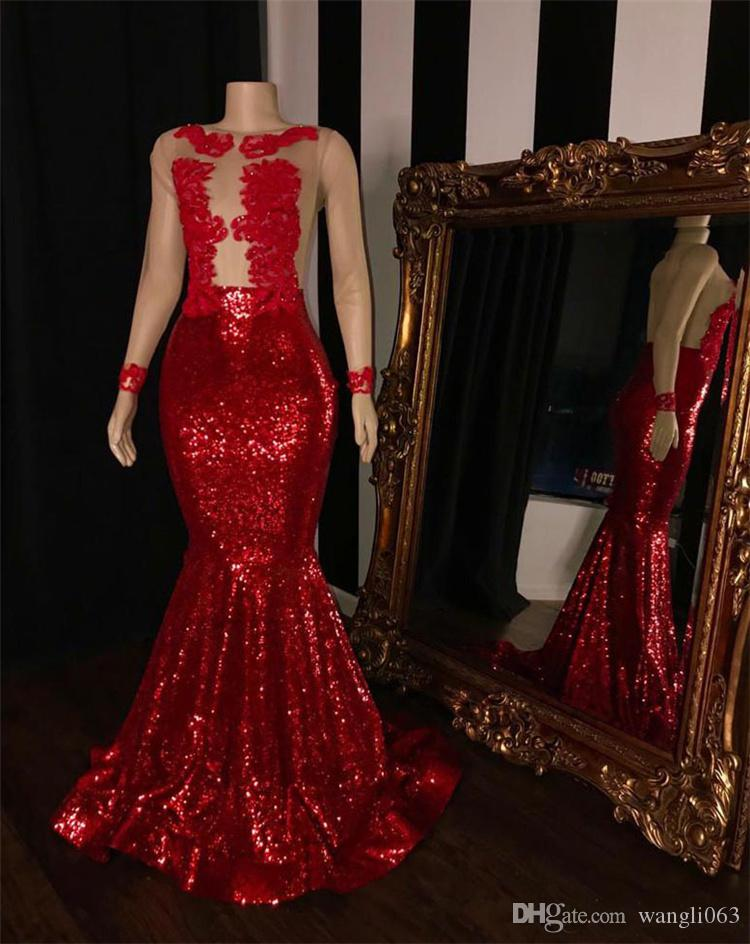 Red Sequined Mermaid Prom Dresses For Black Girls 2019 Sexy Sheer Long Sleeves African Evening Dress Evening Wear With Applique