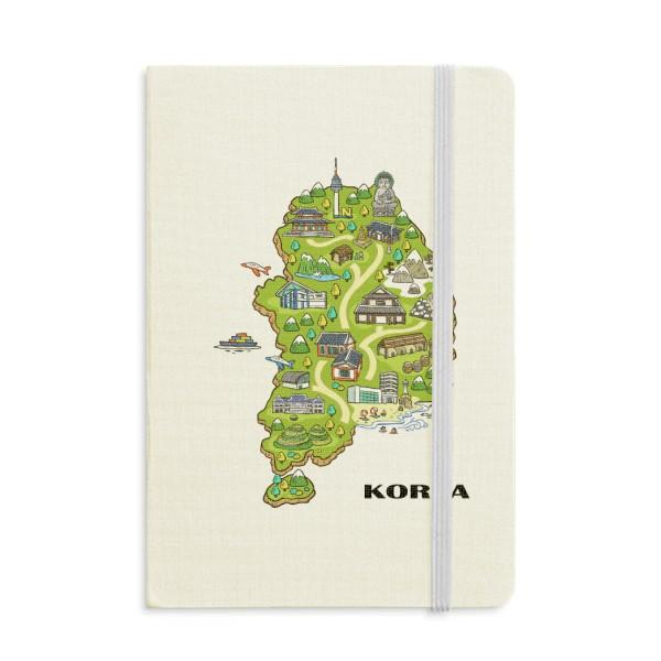 Map showing popular landmarks in Korea Notebook Fabric Hard Cover Classic Journal Diary A5