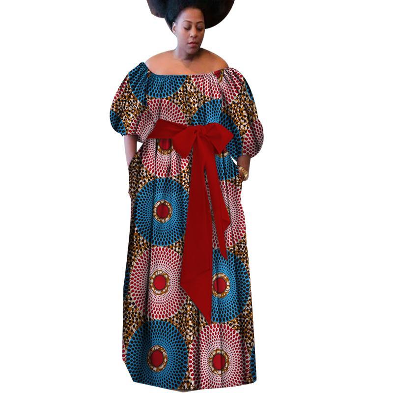 Novo Verão Robe Africaine Femme Africano Roupas Para As Mulheres Bazin Rico Plus Size Vestido Longo Africano Impressão De Cera Vestidos WY3087