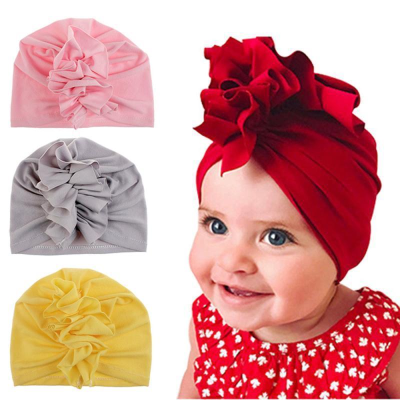 Caps bébé NFANTS Solide Couleur plissés Fleur Inde Cap Set Cadeaux bébé 1-3T Nouveau Accessoires enfants Foulards et chapeaux