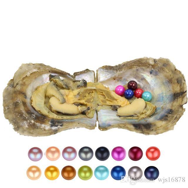 2020 ronda bricolaje ostra perla de 6-7m m 25 mezcla de perlas de color del agua de mar joyería natural del regalo Decoración de envasado al vacío mayor el envío libre