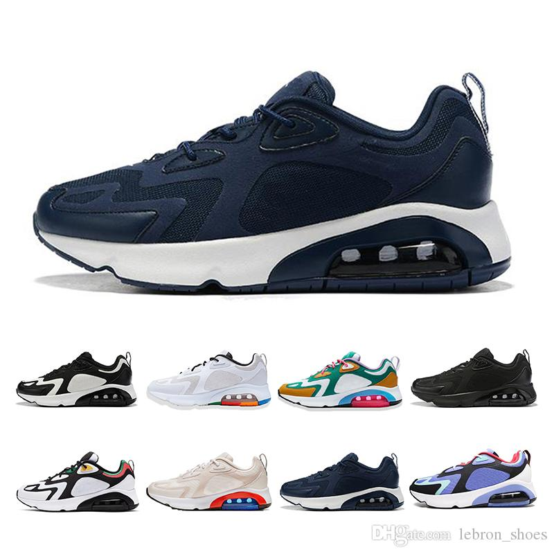 2019 Nuevas nike air max 200 zapatillas para hombres y mujeres muiltycolor blanco negro zapatillas deportivas para caminar Breathe zapatillas para hombre talla 36-46