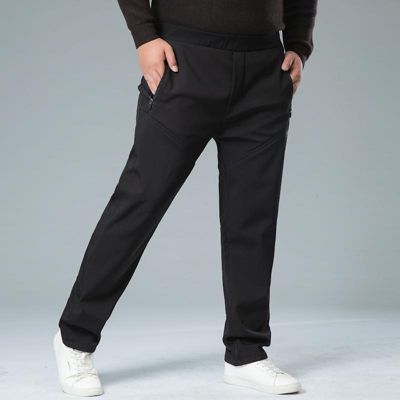 Calças homens lã grossa Fora Velvet Inverno Quente térmica de lã Mens Sweatpants Heavyweight Zipper Calças corredores masculinos 8XL 7XL