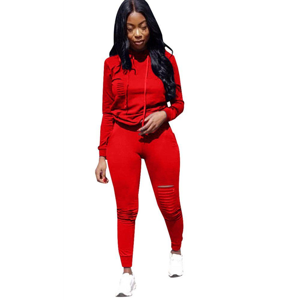 Female Set 2 Stück Mädchen Hoody Sweatshirt Maxi-Rot Hoodie zweiteiliger Satz Frauen Zweiteiler Outfits Sport Jogging Track Suit