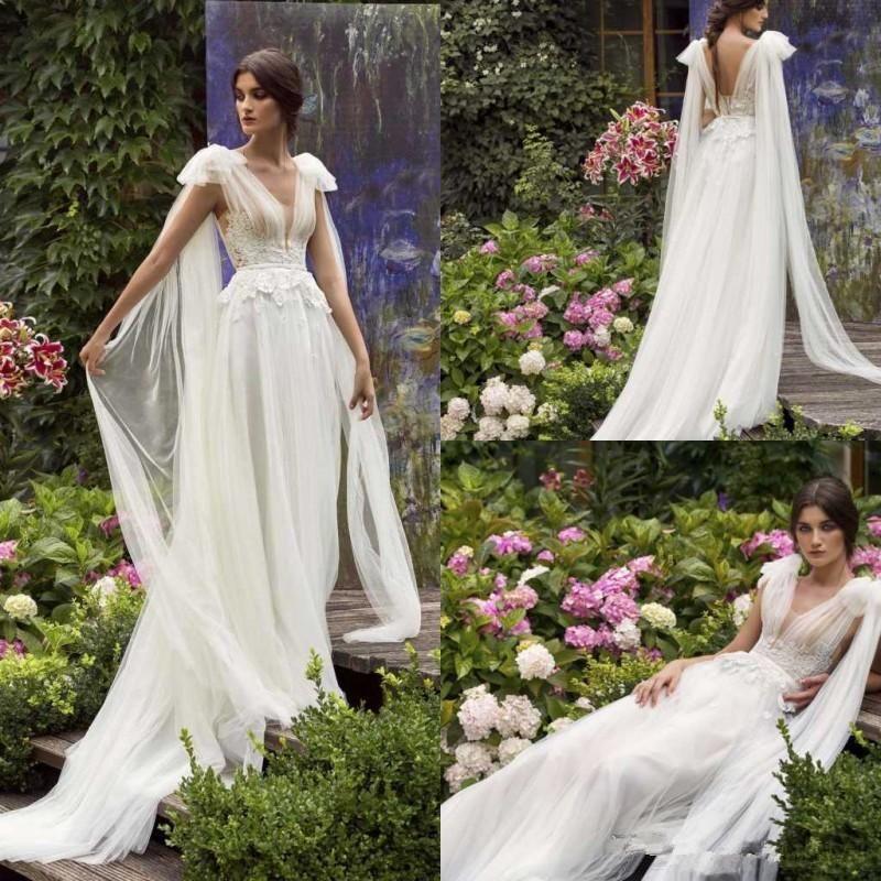 2020 Papilio Beach Wedding Dresses A Line V Neck Sweep Train Lace Appliqued Bohemian Wedding Dress Garden Cheap Robes De Mariée