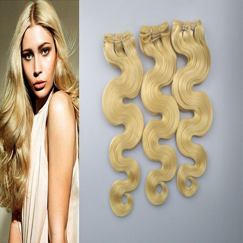 Elibess Capelli -Blonde 613 Colore Virgin estensioni dei capelli umani 3 pacchi 100g / Pcs onda del corpo umano Biondi tessuto dei capelli