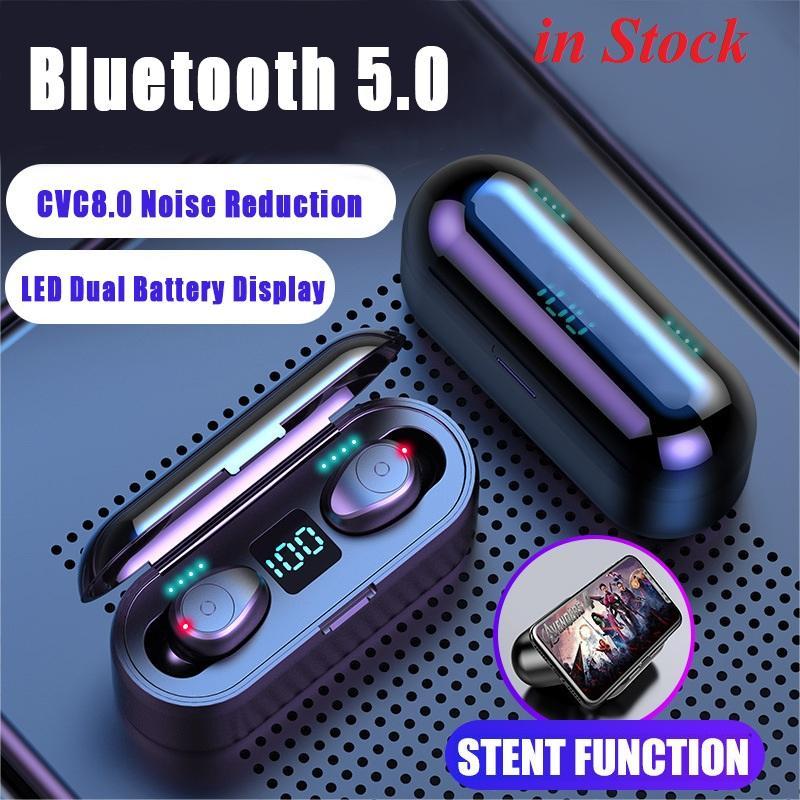 2020 سماعات لاسلكية بلوتوث V5.0 مصمم F9 TWS سماعة ستيريو هاي فاي سماعات الأذن LED العرض التحكم باللمس بطارية 2000mAh سماعة بنك الطاقة