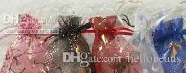 100pcs $5 7*9cm Patterns Luxury Organza Jewelry Bags Christmas Wedding Voile Gift Bag Drawstring Jewelry Packaging Gift Pouch