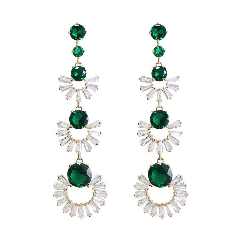 Long Fan Earrings Women Design Wedding Stud Earring 2019 Hot Fashion Jewelry Green Crystal Dangle Earings Rings