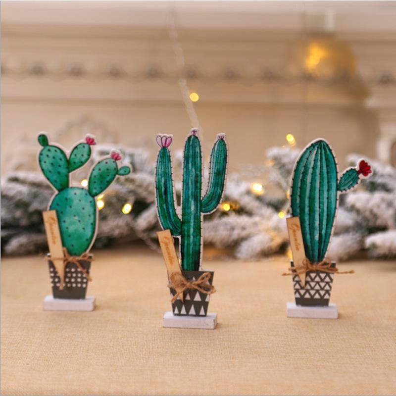 Nordischen Stil Kreative Simulation Pflanze Bonsai Tabletop Holz Kaktus-Weihnachten-Dekor Offfice Desktop-Dekorationen anzeigen