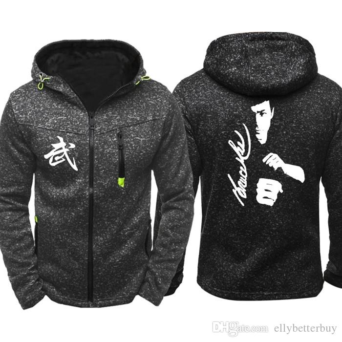 New Kung Fu astro de ação Bruce Lee Homens Sports Wear Hoodies Zipper Tide jacquard queda capuz Primavera Outono jaqueta casaco Tops agasalho