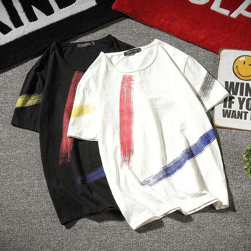 Diseño del hombre faionh Slevees cortos de impresión de la camiseta blanca negra ropa casual de hip-hop de tallas grandes para la parte superior del hombre del verano M-5XL