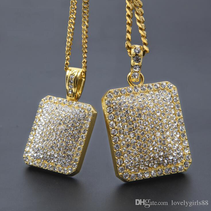 Mens Hip Hop Rhinestone pieno delle collane del pendente di Hiphop Quadrato Gold Jewelry zodiacale riempito Uomini cubana catena gioielli collana di dichiarazione