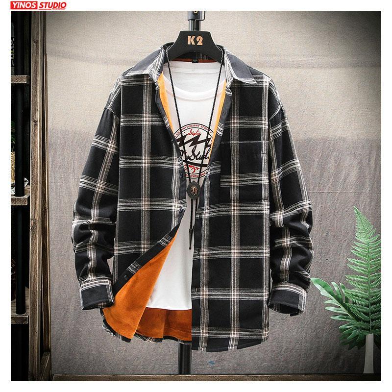 Dropshipping Masculino Autumn Tops Homens Streetwear manta grossas Shirts 2019 Listrado Casual Inverno Mens Camisas japonesas