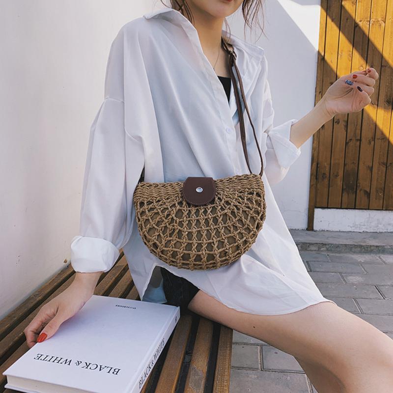 Женщины плеча небольшой мешок летний соломы сумка сумки Дикий Полукруглый Summer Beach Коммуникатор Хаки Бежевый Tote 2020