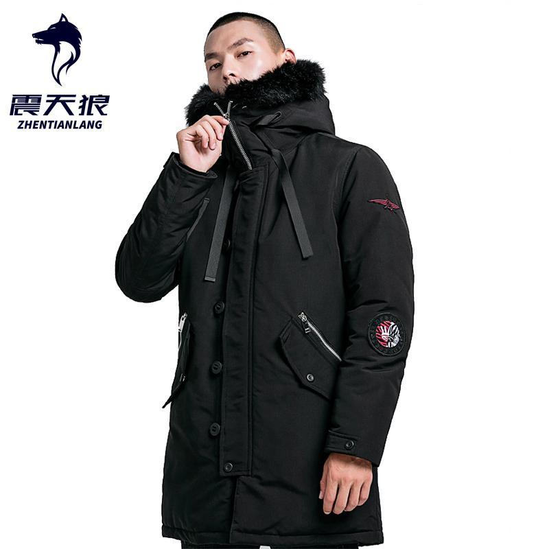 2020 Veste d'hiver Homme chaud épais camouflage col de fourrure à capuchon coupe-vent Parkas Manteaux Manteau Casual Anorak Trench hommes