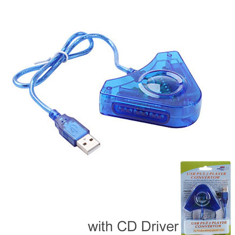 Dual Player Use for PS2 to PC USB Converter Adapter Cable For PS2 Dual Playstation 2 PC USB Game Controller Adapter + CD Driver