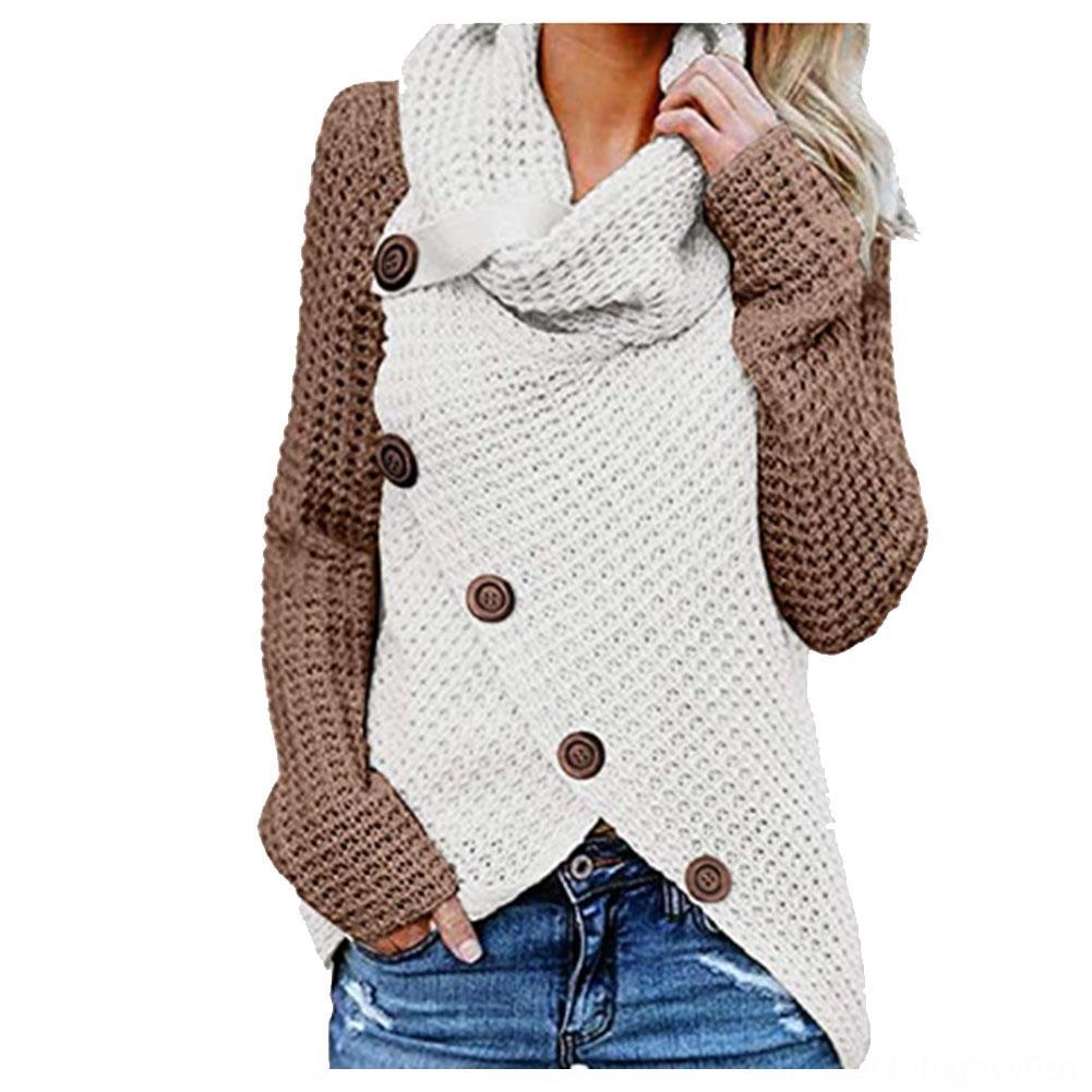 Winter Frauen Pullover Langarm Rollkragen Wollgarn gestrickte Damen Pullover Damenbekleidung Patchwork Unregelmäßige mit Knöpfen Soft-Krieg