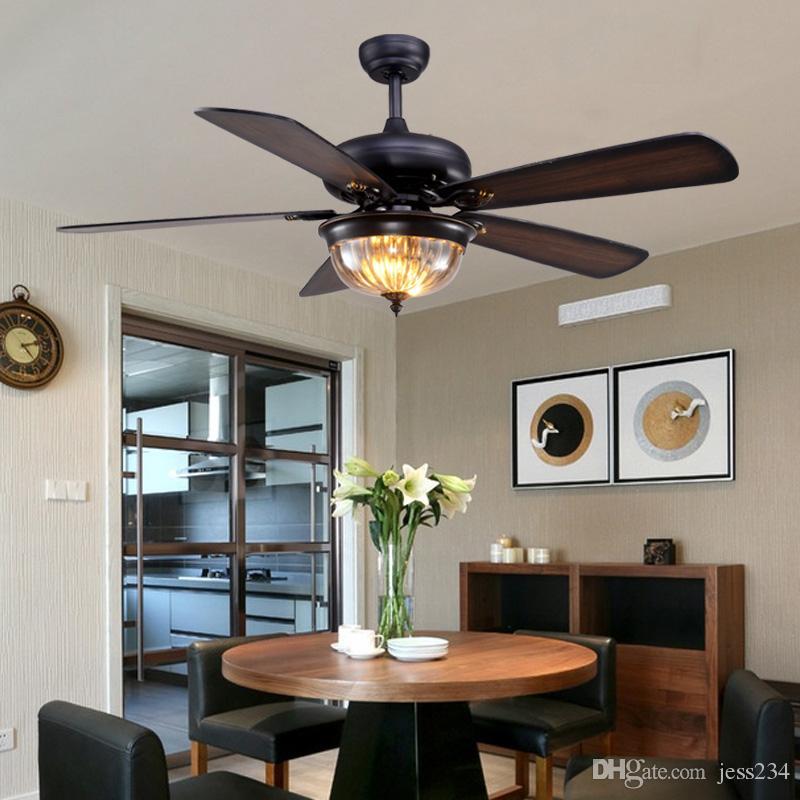 Restaurant Ceiling Fan Pendant Light Living Room American Retro Industrial Remote Control Antique Wood Leaf Fan Lamp