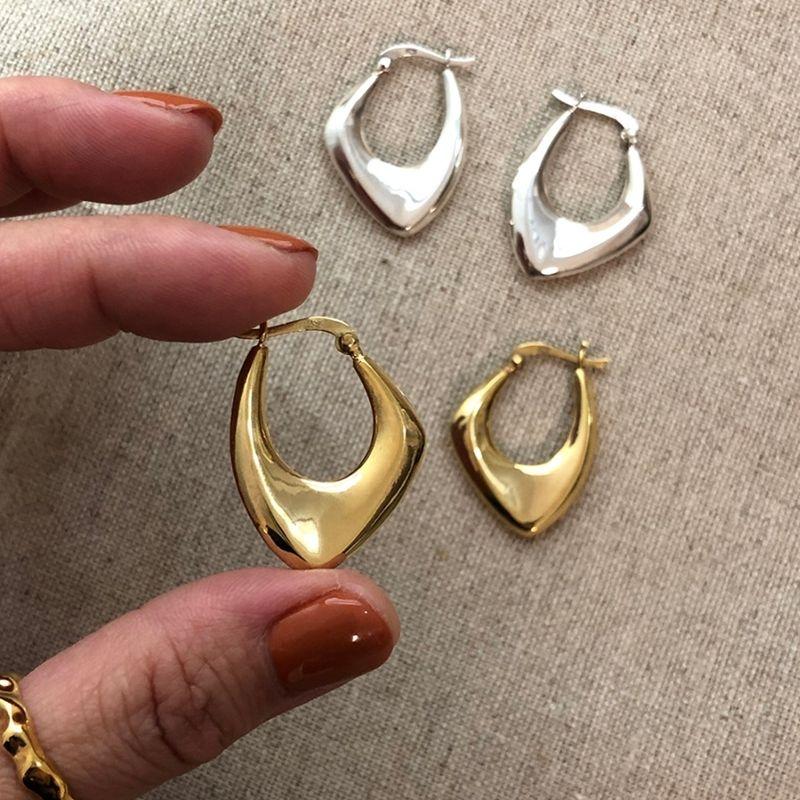 Silvology Argent 925 irrégulière Big Boucles d'oreilles pour les femmes des pays nordiques style Minimaliste Party Boucles d'oreilles de luxe Bijoux Designers CX200707