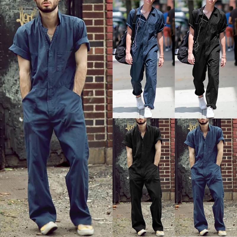 2020 الرجال ملابس عارضة التلبيب بذلة سوداء فضفاضة رومبير أزياء ملابس الصيف قصيرة الأكمام الجيب من قطعة واحدة ملابس عمال ذكر
