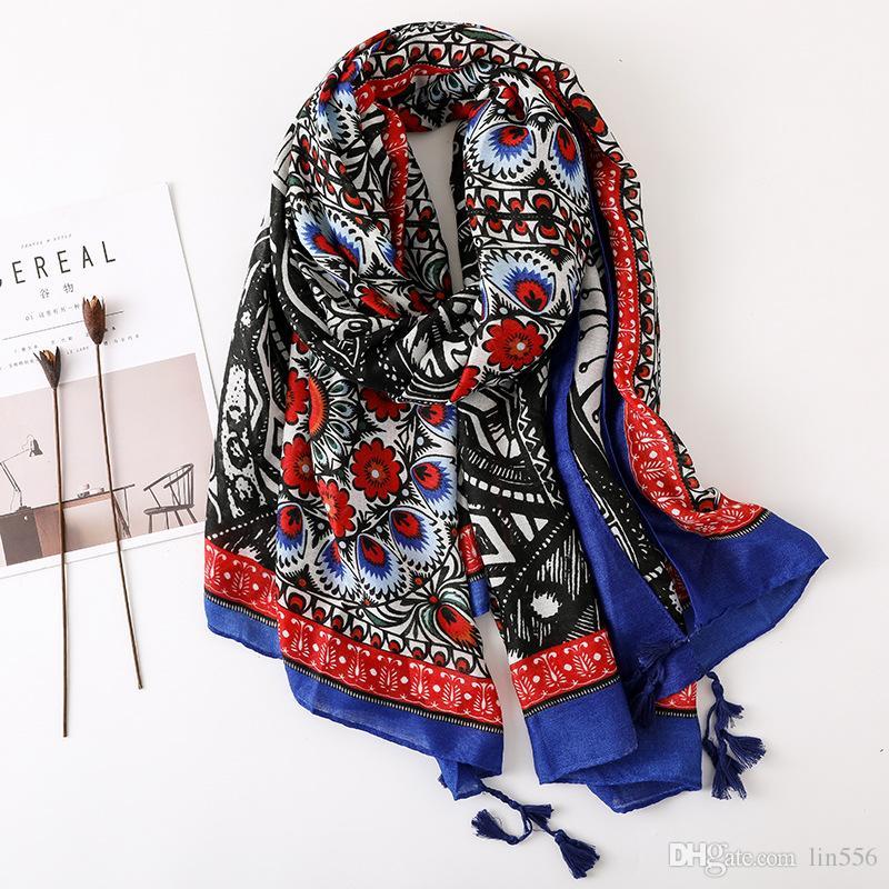 2020 تصميم العرقي وشاح المرأة الخريف الربيع اسبانيا أسلوب طويلة خمر طباعة الحجاب وشاح شال الباشمينا