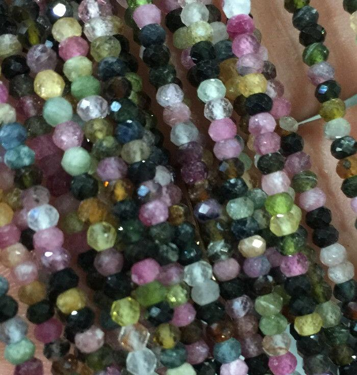 """2x3mm Natural tourmaline faceted rondelle gemstone beads GEM quality 15"""" line"""