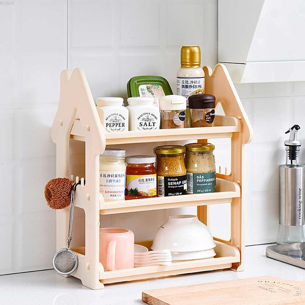2019 Small House Commodity Shelf Kitchen Table Board Three Layers Cruet  Spice Rack Desktop Storage Rack Hierarchy Hanger Rack SH190709 From  Yiwang08, ...