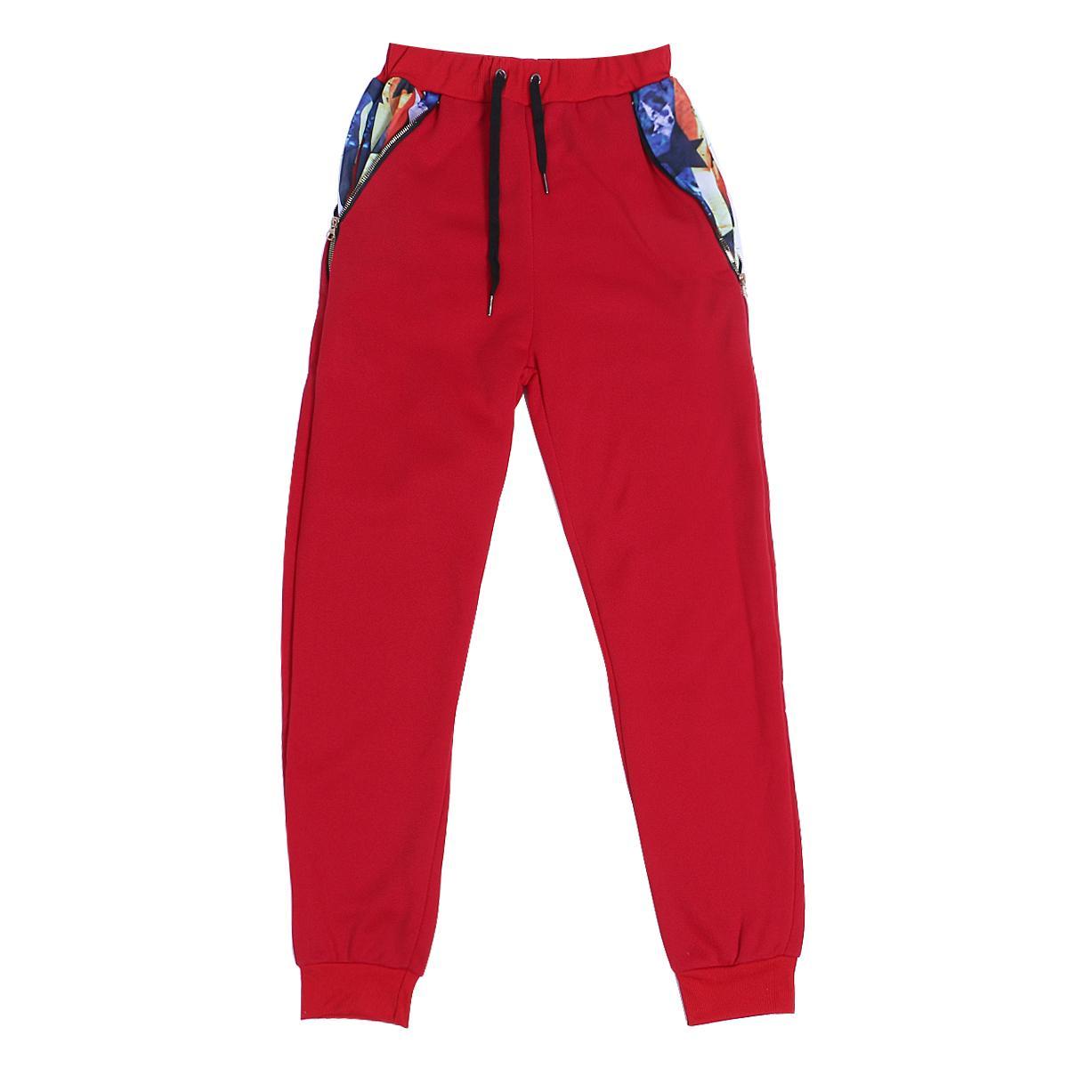 Rafraîchissez Hommes Noir Gris foncé Rouge sport Pantalon taille haute élastique Fermeture éclair Imprimer poches Pantalons refroidissent Pantalon Hommes Trendy Harem