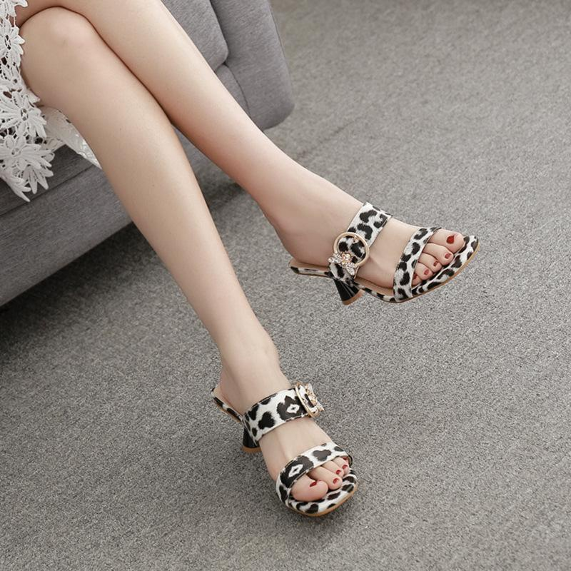 Pretty2019 White And Black Leopard Print Sexy Joker Wine Glass With Semi Trailer Women's Shoes 118-2