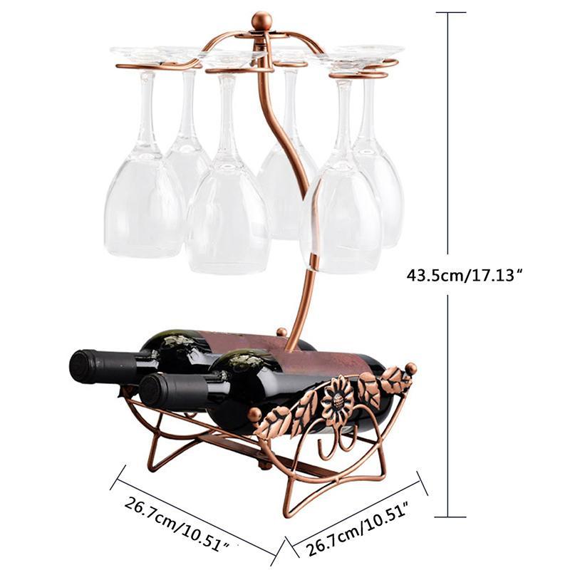 Estante de vino soporte de botella de vino soporte de taza de vidrio pantalla botellas de champán soporte colgante copas de beber copas estante preferencia
