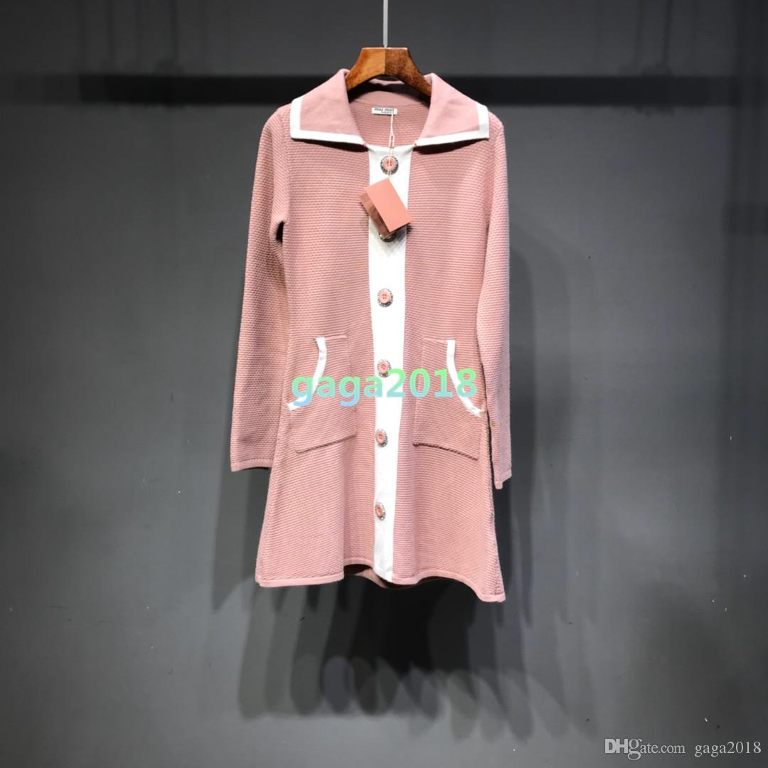 High end 3COLOR Women grils Knitted sweater Jacket long coat Lady Winter Viscose Coat Outerwear Coats dress round neck suit DRESS LONG SHIRT