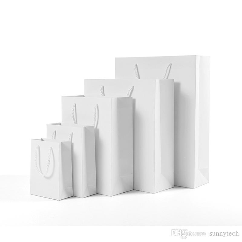 5 الحجم ذات جودة عالية الأبيض كرافت كيس ورقي مع مقبض حفل زفاف لصالح هدية ورقة حقائب مصنع LX2571 بالجملة