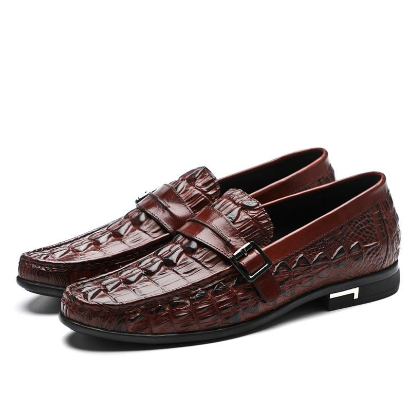 New Casual Leather Shoes Round Toe Men's Slip-on Loafers With Buckles Crocodile Grain Mens Dress Shoes