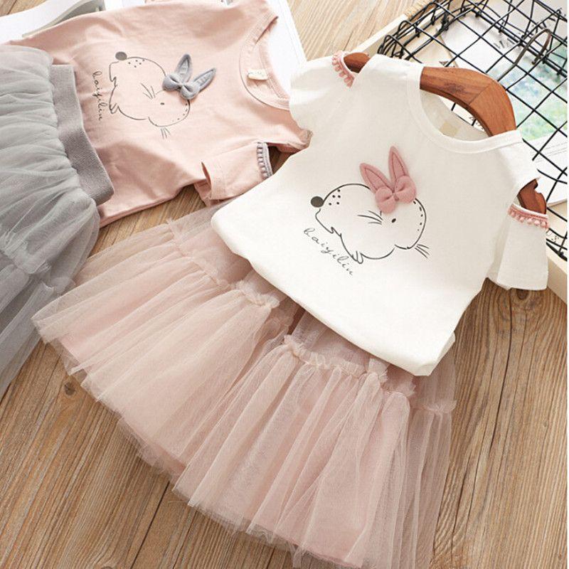 Summer Kids Clothes Sets Girls Short Sleeved T-shirt Tutu Net Skirt Suit Children Bow Beaded T-Shirts Skirts Clothing Set