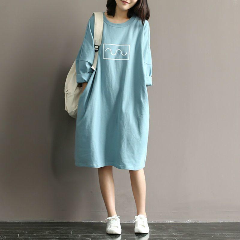 Maternité T-shirt Dress 100% Coton Dress Vêtements Pour Femmes Enceintes Robe Tops À Manches Longues Robes De Maternité Vêtements De Grossesse Y19052003