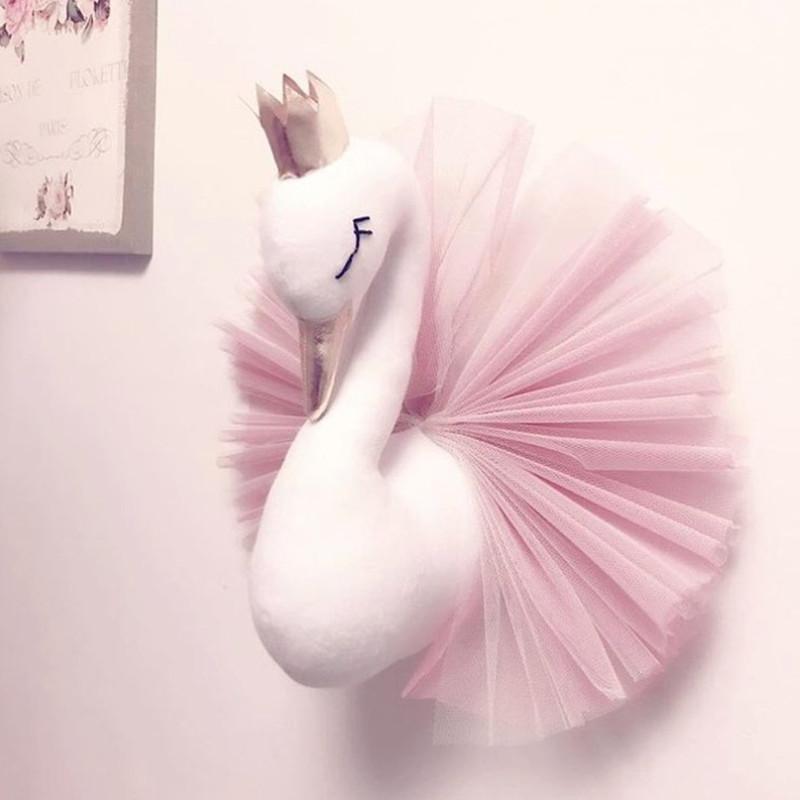 아기 소녀 룸 장식 봉제 동물 머리 백조 벽 홈 장식 아기 인형 장난감 여자 침실 액세서리 키즈 아이 선물 T200624