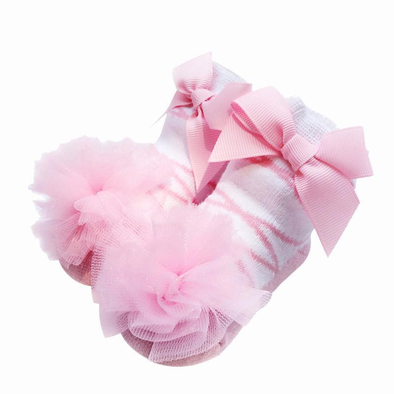 0-12 Months Baby Girl Socks Qaulity Cotton Big Bows Flower Lace Newborn Baby Socks Infant Tollder Girls Princess Socks Gift