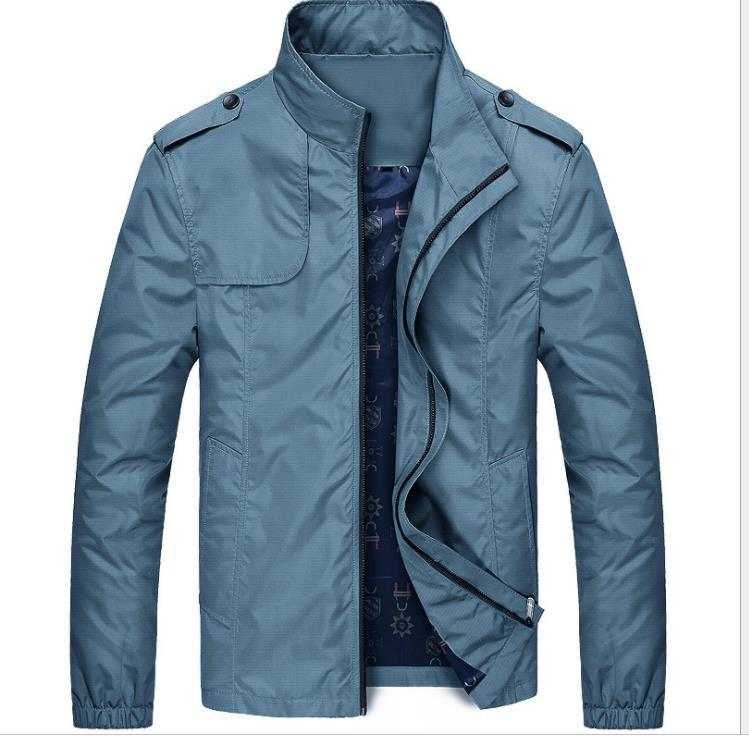 Мужская весна осень сплошная куртка молния летать пальто воротник с длинными рукавами хлопчатобумажная куртка мужская одежда