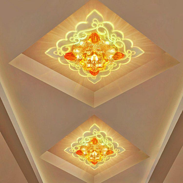 Modern Kristal LED Tavan Işık 6 W Modern LED Kristal Koridor Koridor Işık Sundurma Hall LED Tavan Lambası Sıva Üstü Gömülü Lamba