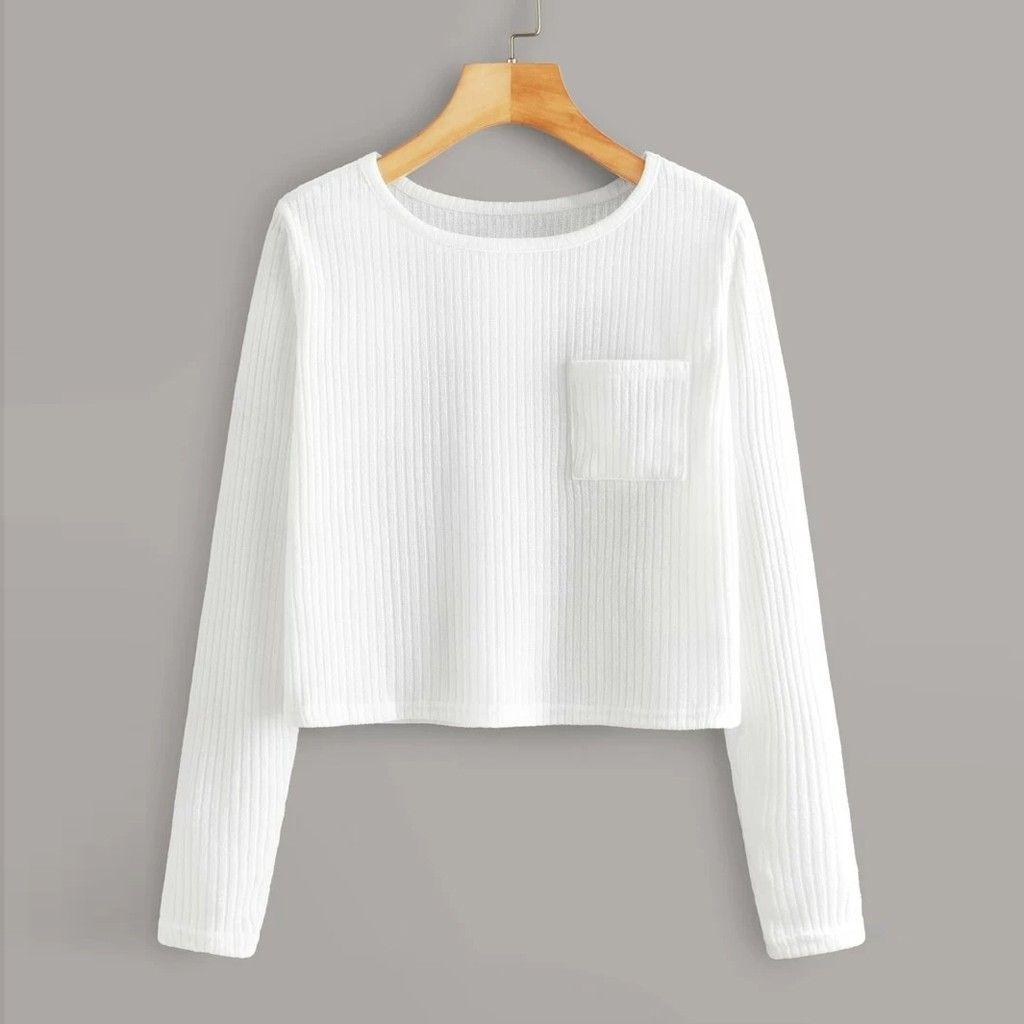 Feitong Moda Streetwear camisola Womens Long Sleeve O Neck bolso camisola Casual Streetwear Blusa pulôver vestuário