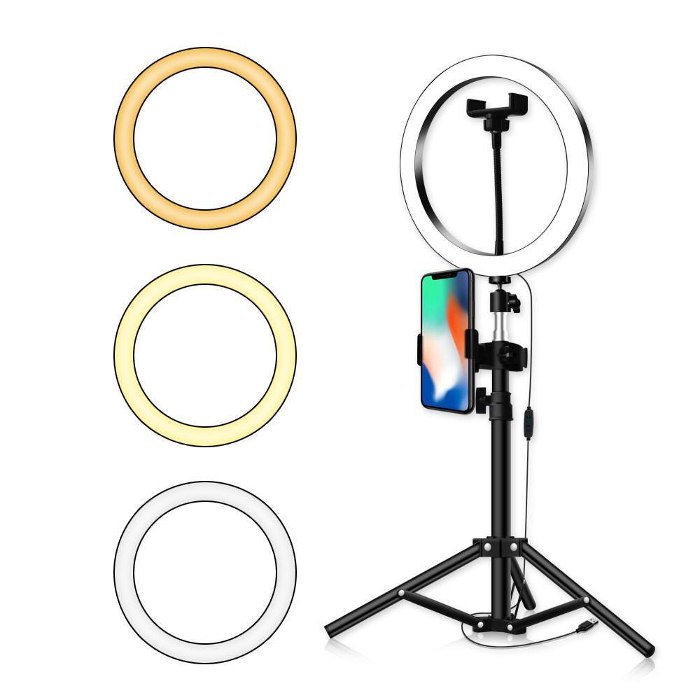 LED Ring Light 16//20//26cm 5600K Dimmable Selfie Ring Lamp Photographic Lighting with Tripod Phone Holder USB Plug Photo Studio Size : 16cm Type 50cm