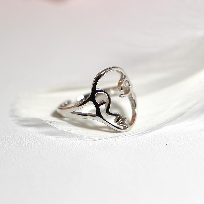 925 Rings Adjustable Vintage Fashion Face Shape Ring 925 Sterling Silver Ring for Women