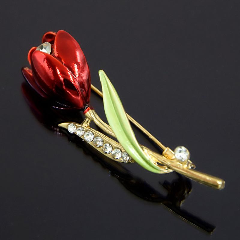 Christmas Suit Pins Antique Crystals Pin Painted Brooches Brooch FLower Tulip Bouquet Rhinestone Brooch for Women 24PCS