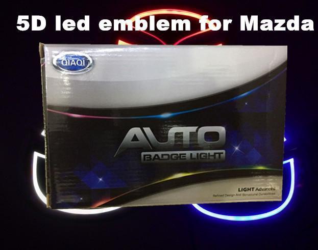 5D car led emblem car led badge car led symbols logo rear light bulb white red blue color for M*zda