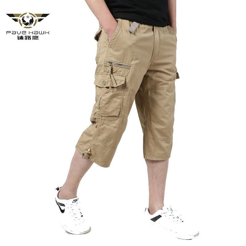 Longo Comprimento de carga Shorts Homens 2020 Joelho Verão multi bolso Casual Cotton elástico na cintura Bermudas Masculino Estilo militar Hot culatras CX200624