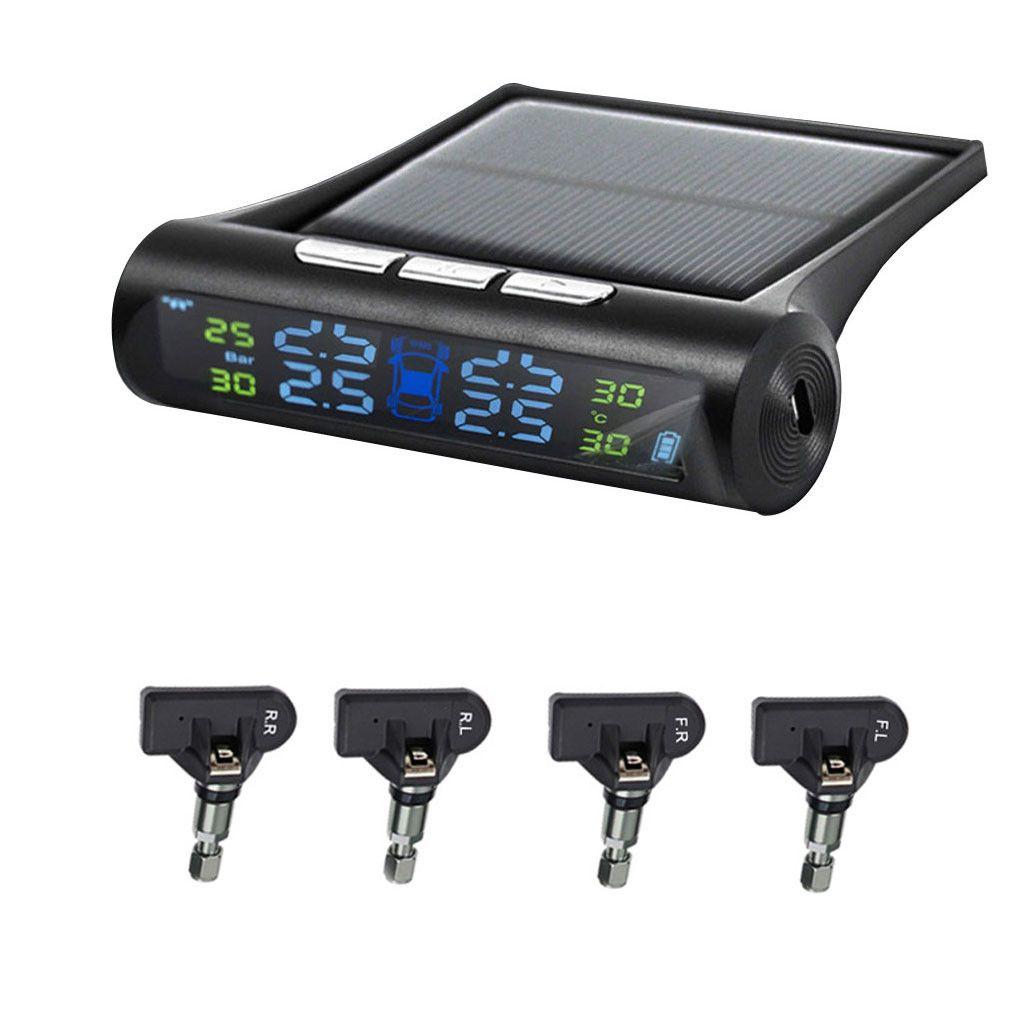 CARPRIE monitor de presión de los neumáticos de coches Sistemas Wireless Solar TPMS Neumático Neumático Pressure Monitoring System + 4 mar7 sensor interno